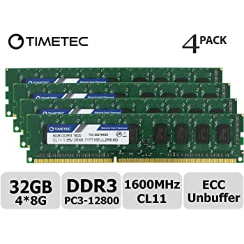 Kingston Technology 32GB Kit of 4 4 x 8GB DDR3 1600MHz PC3-12800 ECC DIMM Memory for Select HP//Compaq Desktops KTH-PL316EK4//32G