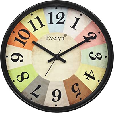 Evelyn Round Classic Decorative Multicolor Wall Clock with Glass for Home/Bedroom/Living Room/Kitchen