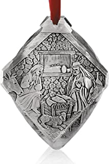 """Wendell August Forge Nativity Christmas Ornament, 3.125"""" x 3.5"""" – Hand-Hammered Ornament Depicting Birth of Jesus in The Manger – Beautifully Detailed Tree Decoration Makes a Great Gift - Made in USA"""