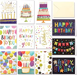 HOWAF 12 PCS Birthday Cards,Pack of 12 Greeting Cards Blank Cards&Gift Envelopes,Happy Birthday cards with Envelopes set f...