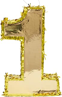 Juvale Large Number 1 Gold Foil Pinata, First Birthday Party Supplies, 16 x 10 x 3 Inches