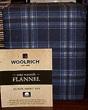 Woolrich Queen Size Cotton Flannel Sheet Set • Blue & Navy Blue Plaid Pattern