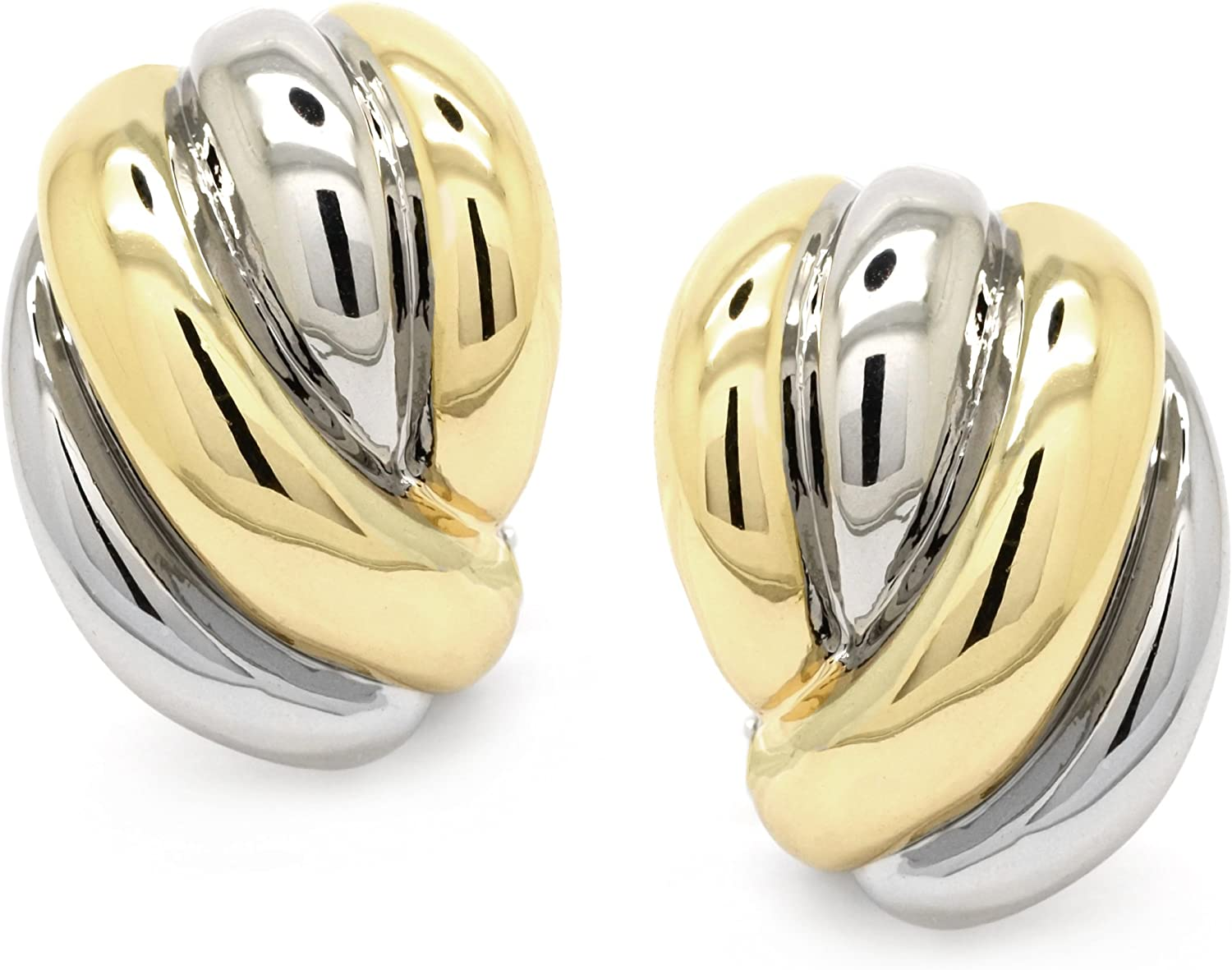 Vintage Woven Two Tone Clip On Earrings Gold Plated Classic Women Fashion