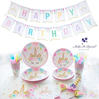 Unicorn Party Supplies Kit | Serves 16 | All you need for a Magical Themed Birthday Party | Unicorn Birthday Party Decorations Bundle | Bonus: Birthday Sash & Unicorn Headband | Happy Birthday Banner | Plates | Cups | Utensils | Napkins | Table Cloth | Party like a Unicorn | Make Your Party Unforgettable! Make IT Special!!