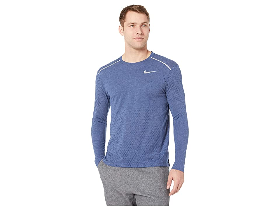 Nike Breathe Rise 365 Long Sleeve (Blue Void/Heather/Reflective Silver) Men