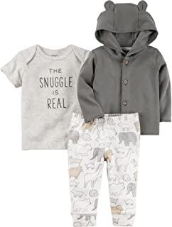 Carter's Baby 3 Piece The Snuggle is Real Tee, Hooded Cardigan, Animal Pants Set