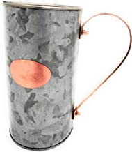 Galrose DECORATIVE WATER PITCHER JUG - Juice CARAFE Sangria PITCHER Galvanized Iron Waterproof Metal FLOWER VASE Stainless Steel Lined Rose Gold Plaque/Handle-6th Wedding Anniversary Gifts for Couple