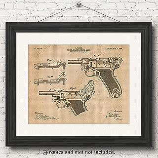 Original Luger Recoil Pistol Handgun Patent Poster Prints, Set of 1 (11x14) Unframed Photo, Great Wall Art Decor Blueprints Gifts Under 15 for Home, Office, Garage, Student, Teacher, NRA & Movies Fan