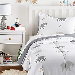 Amazon Basics Kid's Comforter Set - Soft, Easy-Wash Microfiber - Twin, Grey Elephants