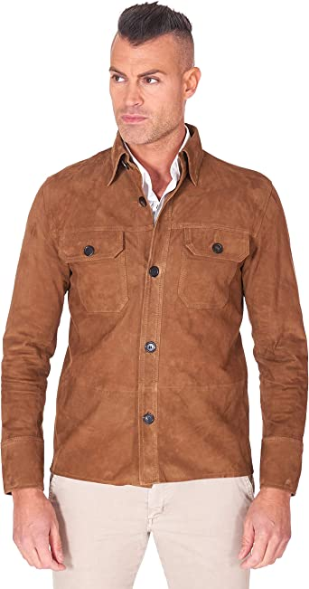 DArienzo Tan Suede Lamb Leather Shirt with Buttons: Amazon ...