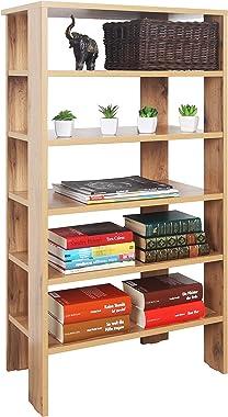 RICOO WM041-EW Étagère de Rangement 105 x 60 x 32 cm Bibliothèque Petite Meuble en Bois Organisateur capacité 6 Niveaux Ouver
