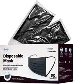 WeCare Individually Wrapped Disposable Face Masks - 50 Pack, Black -Soft on Skin - 3 Ply Protectors with Elastic Earloops - Latex Free, Non Woven, Single Use - Effective Filtration - Retail Packaging
