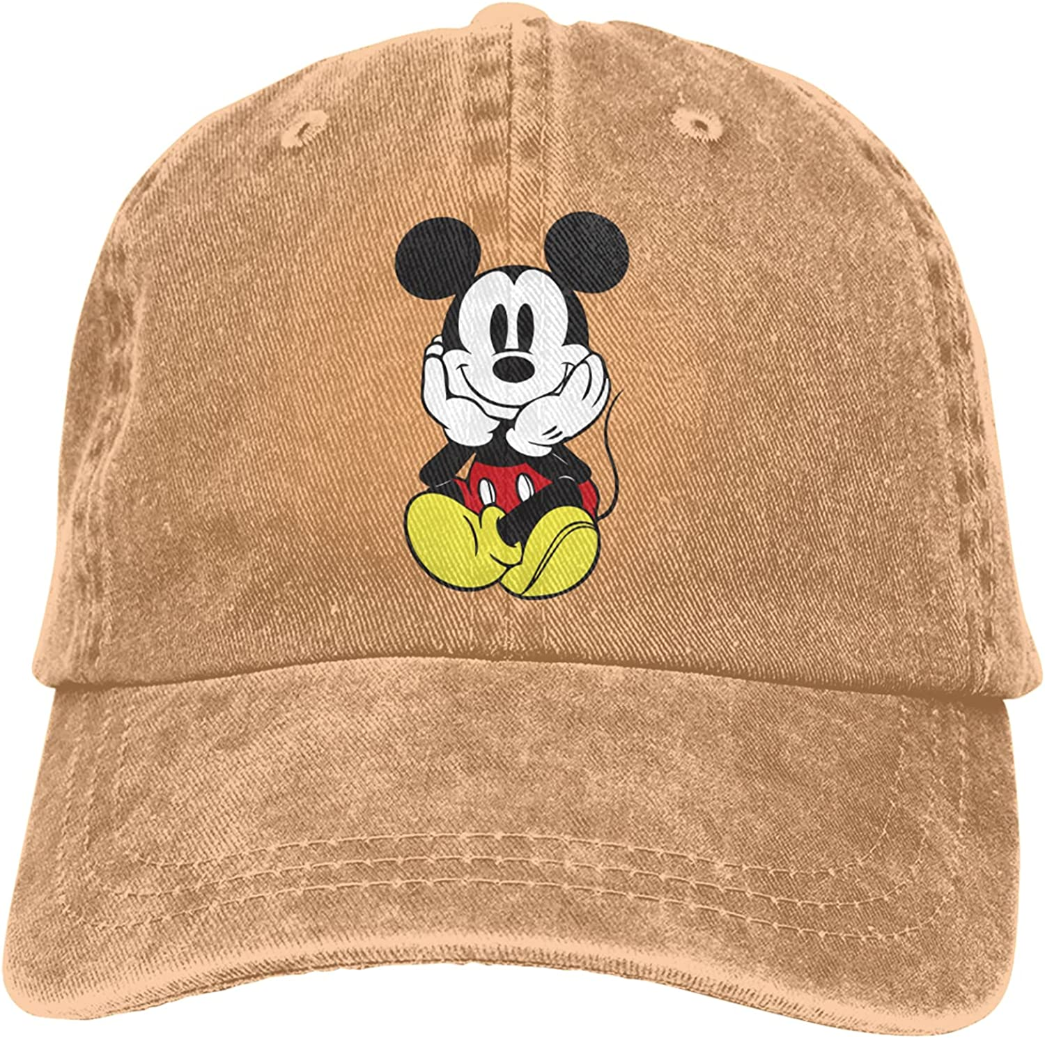Mickey Mouse Unisex Baseball Cap Washed Vintage Denim Cotton Adjustable Polo Style Low Profile Dad Hat