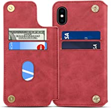 iPhone Xs Wallet Case, SUTENI iPhone Xs Credit Card Slot Holder Case, Leather Magnetic Closure [Stand Feature] Wallet Flip Case for iPhone Xs/iPhone X (2017) with Gift Box Package (Red)