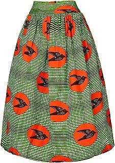 FANS FACE Women's African Print High Waist Pleated Knee-Length Skirt A-Line Skirts with Pockets