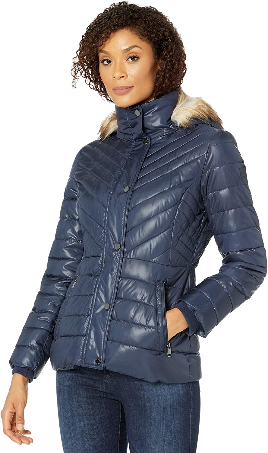 Kenneth Cole New York Womens Faux Fur Trimmed Short Puffer