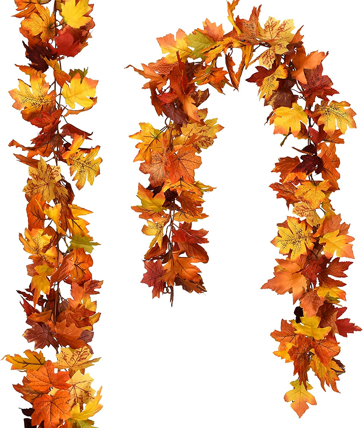 DearHouse 2 Pack Fall Garland Maple Leaf, Hanging Vine Garland 9 Color Artificial Autumn Foliage Garland Thanksgiving Decor for Home