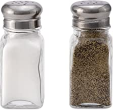 Glass Salt and Pepper Shakers - Set of 2- Stainless Steel Tops - 2 Ounce