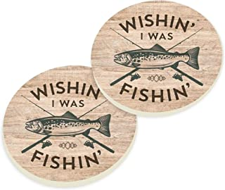 P. Graham Dunn Wishin I was Fishin Natural Brown 3 x 3 Absorbent Ceramic Car Coaster Pack of 2