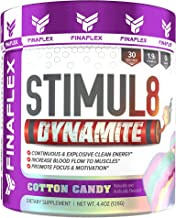 Stimul8 DYNAMITE, Explosive Preworkout for Men and Women, Continuous Clean Energy for Hours, Increase Performance, Strength, Pumps, 30 Servings (Cotton Candy)