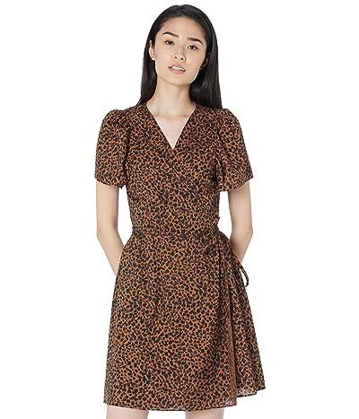 Madewell Short Sleeve Wrap Dress in Leopard Women