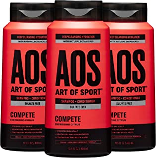 Art of Sport Men's Shampoo and Conditioner (3-Pack) - Compete Scent - Sulfate Free Shampoo and Conditioner 2-in-1 with Nat...