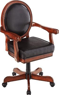 Hillsdale Warrington Wood Adjustable Swivel Caster Chair, Game, Rich Cherry