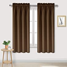 DWCN Blackout Curtains – Thermal Insulated, Energy Saving & Noise Reducing Bedroom and Living Room Curtains, Brown, W 42x L 63 Inch, Set of 2 Rod Pocket Curtain Panels