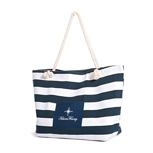 Fishers Finery Heavy Canvas Striped Beach Bag with Rope Handle  Multi Sizes f2aeaf91a4053