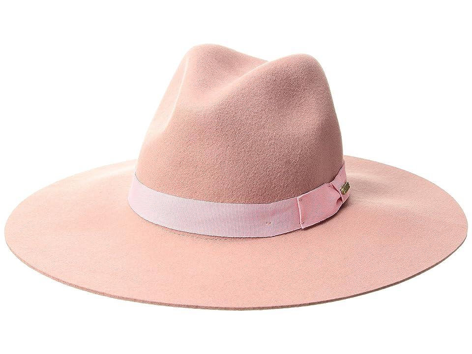 1950s Women's Hat Styles & History San Diego Hat Company WFH8049 Wide Flat Brim Fedora Blush Fedora Hats $62.00 AT vintagedancer.com