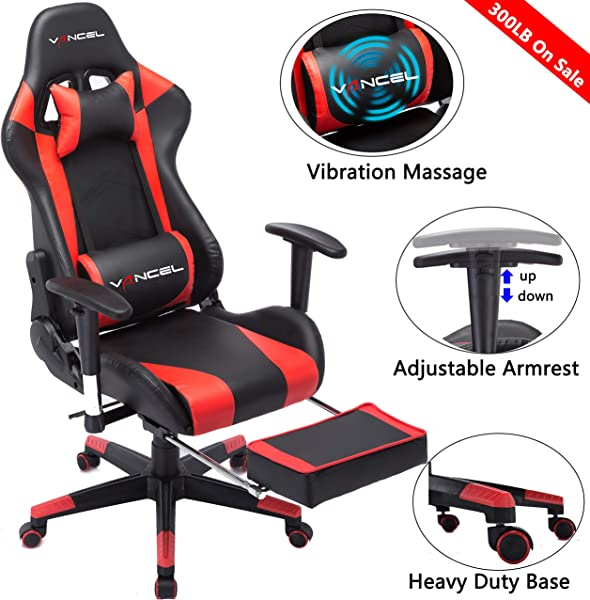 Gaming Chair Office Desk Chair High Back Computer Chair Ergonomic Adjustable Racing Chair Executive PC Chair With Headrest Massager Lumbar Support Retractible Footrest Red