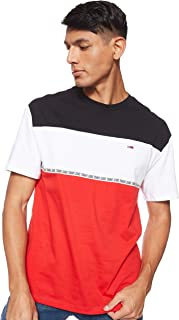 Tommy Hilfiger Men's TJM Colorblocked Tape Tee T-Shirt, Red (Flame Scarlet 667), Medium