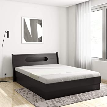 Amazon Brand - Solimo Hailey Queen Size Engineered Wood Bed with Headboard Storage (Espresso Finish)