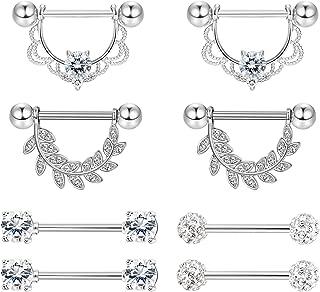 Stainless Steel 14g Nipplerings Piercing for Women Sexy CZ Hoop Barbell Nipplerings Set