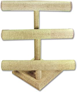 NILECORP Ikee Design Linen Jewelry Three Tier T-Bar Display, Bangle or Necklace Display 12