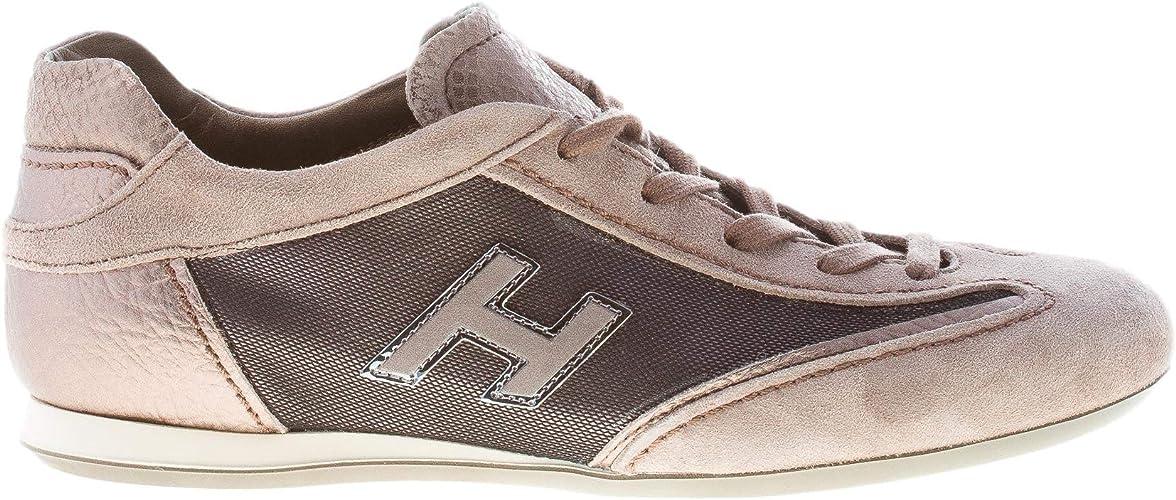 Hogan Donna Olympia Sneaker in camoscio Beige più Tessuto Tecnico ...