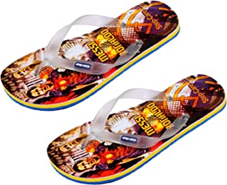 IndiWeaves Combo Pack of 2 Pair Comfortable Flip Flop House Slippers Hawaii Chappal for Men