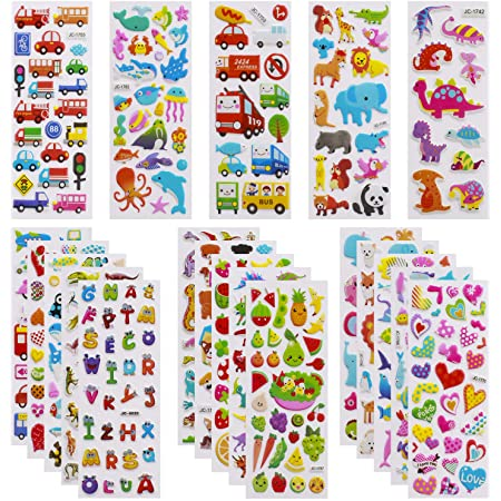 3D Stickers for Kids Toddlers 550+ Vivid Puffy Kids Stickers 24 Different Sheets, Colored 3D Stickers for Boys Girls Teachers, Reward, Craft Scrapbooking
