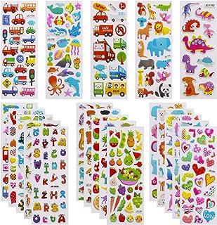 Meafeng Autocollants 3D pour Enfants 2 à 4 Ans, 24 Feuilles Kids Stickers Plus de 550 Comprenant des Animaux, la Vie Océan...