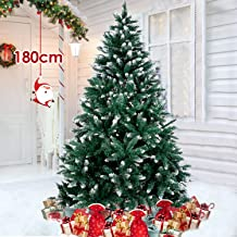 amzdeal Arbre de Noêl Sapin de Noël Artificiel 180cm Christmas Tree,Naturel Pin Blanc Enneigé, Matière PVC,Base Métallique Stable,Xmas Party Décoration