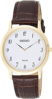 SEIKO Men's Solar Powered Watch, Analog Display and Leather Strap SUP860P1