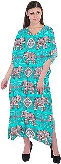 RADANYA Elephant Long Casual Cotton Maxi Kaftan Evening Summer Beach Dress Caftan for Women - White