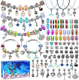 90 Pcs Charms Bracelet Making Kit for Girls, Thrilez DIY Charm Bracelets Kit with Jewelry Beads, Bracelet Charms Gift for ...