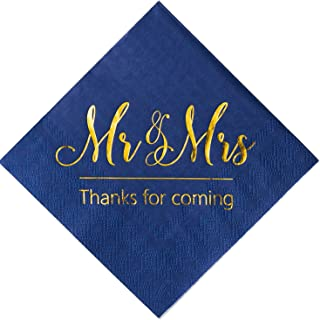 Crisky Wedding Napkins Mr Mrs Bule Gold Cocktail Beverage Dessert Napkins for Wedding Shower Engagement Party Decorations, 100 Pcs, 3-Ply
