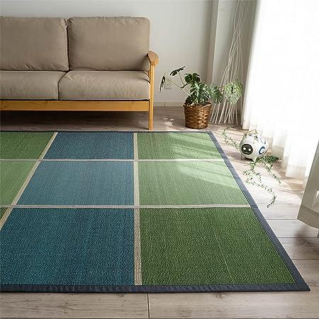 チェック 天然 涼感 格子 竹ラグ 竹カーペット ひんやり 180x240 グリーン 3畳 たためる