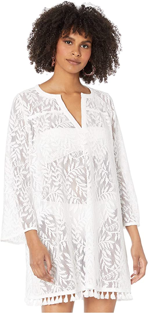 Resort White Swirling Leaf Lilly Lace