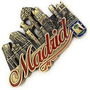 Madrid España Imán 3D para nevera de viaje, regalo de recuerdo de viaje, decoración del hogar y la cocina, pegatina magnética Madrid España: Amazon.es: Hogar
