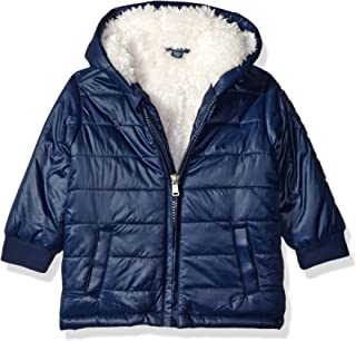 GUESS Baby Boys' Shiny Nylon Puffer Fleece Lined Jacket