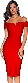 Women's Strapless Bodycon Dress Knee Length Off Shoulder Bandage Dress