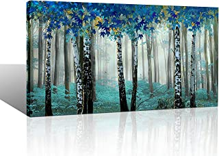 Yiijeah Large White Birch Forest Wall Art Canvas Print Decor for Living Room Bedroom Blue Green Tree Picture Framed Artwork Home Decoration 24x48